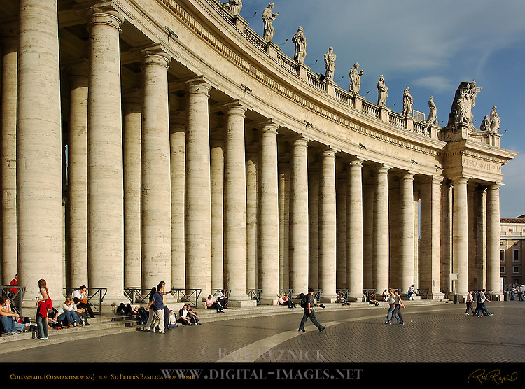 Colonnade and Saints on Balustrade Constantine Wing GianLorenzo Bernini 1666 Piazza San Pietro St Peter's Square St Peter's Basilica Rome
