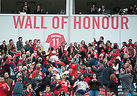 """15 April 2010: Toronto FC's Jim Brennan has his number put on the """"Wall of Honour"""" in a game between the Philadelphia Union and Toronto FC at BMO Field in Toronto..Toronto FC won 2-1..Photo by Nick Turchiaro/isiphotos.com."""