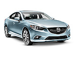 Blue 2014 Mazda Mazda6 midsize sedan car isolated on white background with clipping path