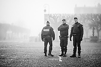 Pictures by Russell Ellis/SWpix.com - 10/04/2016 - Cycling - Paris-Roubaix - France - Paris-Roubaix 2016 - Police awaiting the arrival of fans before the race