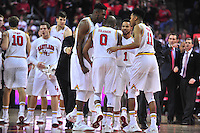 The Terrapins exults in excitement late in the 2nd half. Maryland defeated Georgetown 75-71 during a game at Xfinity Center in College Park, MD on Wednesday, November 17, 2015.  Alan P. Santos/DC Sports Box