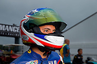 Aug 31, 2014; Clermont, IN, USA; NHRA pro stock motorcycle rider Hector Arana Jr during qualifying for the US Nationals at Lucas Oil Raceway. Mandatory Credit: Mark J. Rebilas-USA TODAY Sports