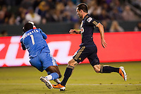 LA Galaxy goal keeper Donovan Ricketts (1) saves a ball from Phily's Jack McInerney (29). The LA Galaxy defeated the Philadelphia Union 1-0 at Home Depot Center stadium in Carson, California on  April  2, 2011....