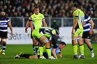 Referee Tom Foley is helped to his feet after a collision with a Sale Sharks player. Aviva Premiership match, between Bath Rugby and Sale Sharks on October 7, 2016 at the Recreation Ground in Bath, England. Photo by: Patrick Khachfe / Onside Images