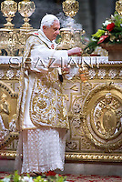 Pope Benedict XVI celebrates the solemnity of the Epiphany at St Peter's basilica at The Vatican. on January 6, 2010