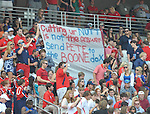 Fans hold a sign against Ole Miss athletic director Pete Boone at Vaught-Hemingway Stadium in Oxford, Miss. on Saturday, September 24, 2011. Georgia won 27-13.