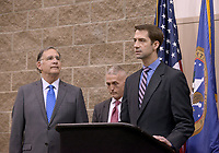 NWA Democrat-Gazette/BEN GOFF @NWABENGOFF<br /> John Boozman (from left), U.S. Sen. (R-Ark.), U.S. Rep. Trey Gowdy (R-S.C.), and U.S. Sen. Tom Cotton (R-Ark.) take part in media availability Thursday, April 20, 2017, prior to Gowdy's speech, part of the Winthrop Paul Rockefeller Distinguished Lecture Series presented by the United States Marshals Museum, at the Fort Smith Convention Center in Fort Smith.