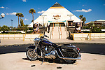 April 21, 2009. Myrtle Beach, SC.. After years of hosting hundreds of thousands of bikers for the annual Bike Week and Black Bike Week rallies, the city council of Myrtle Beach has passed new motorcycle laws to try and put an end to the rallies and promote a more family oriented experience. Many local business owners are outraged at the loss off revenue and the ordinances are to be challenged in court.. Even in the outskirts of Myrtle Beach, where strip malls and outlet stores prevail, the culture of the motorcycle is present, as seen here at the Broadway at the Beach shopping mall.