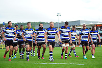 The Bath Rugby team leave the field at the end of the first half. Aviva Premiership match, between Bath Rugby and Newcastle Falcons on September 10, 2016 at the Recreation Ground in Bath, England. Photo by: Patrick Khachfe / Onside Images