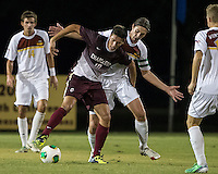 The Winthrop University Eagles played the College of Charleston Cougars at Eagles Field in Rock Hill, SC.  College of Charleston broke the 1-1 tie with a goal in the 88th minute to win 2-1.  Jake Currie (10), Adam Brundle (12)