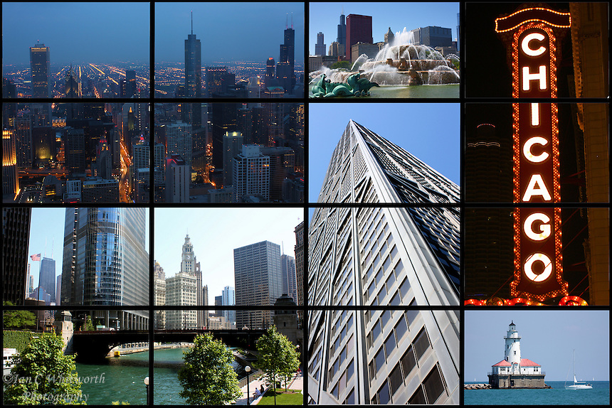 A collage of Chicago showing  views of this beautiful clean city.