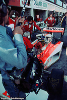 BOWMANVILLE, ON - OCTOBER 3: James Hunt sits in his McLaren M23 8-2/Ford Cosworth in pit lane during practice for the 1976 Canadian Grand Prix on October 3, 1976, at Mosport International Raceway near Bowmanville, Ontario, Canada.