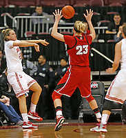 Ohio State Buckeyes guard Amy Scullion (25) saves the ball from going out of bounds in first half action at Value City  Arena on February 20,  2014. (Chris Russell/Dispatch Photo)