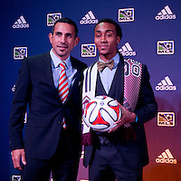 #12 overall pick Marlon Hairston of the Colorado Rapids stands with Pablo Mastroeni during the MLS SuperDraft at the Pennsylvania Convention Center in Philadelphia, PA, on January 16, 2014.