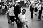 LAS VEGAS NEVADA USA 2001. AN AFRO AMERICAN COUPLE DANCE IN AN INTERMIT MANNER OBLIVIOUS TO OTHER COUPLES  NEAR BY