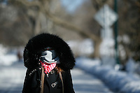 A woman walks inside central park during low temperatures in New York. 16.02.2015. Eduardo Munoz Alvarez/VIEWpress.