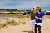 Screenwriter/Co-Producer judywhite and actress Michelle Petterman as Jane, on location in Orleans, Cape Cod, MA, for film Lies I Told My Little Sister