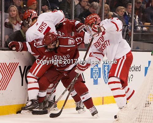 Chad Krys (BU - 5), Nathan Krusko (Harvard - 13), Charlie McAvoy (BU - 7) - The Harvard University Crimson defeated the Boston University Terriers 6-3 (EN) to win the 2017 Beanpot on Monday, February 13, 2017, at TD Garden in Boston, Massachusetts.