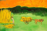 France, île de la Réunion, Saint Paul, Le Guillaume: Restaurant: Chez Doudou, mur peint de la salle du restaurant , coupe de la canne  à sucre //  France, Ile de la Reunion (French overseas department),  Saint Paul district, Le Guillaume :    Chez Doudou Restaurant, Painted wall: cutting sugar cane