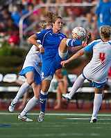 Boston Breakers forward Katie Schoepfer (2) controls a high ball.  The Boston Breakers beat the Chicago Red Stars 1-0 at Dilboy Stadium.