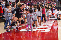 STANFORD, CA - August 28, 2016: Morgan Hentz at Maples Pavilion. The Stanford Cardinal defeated the University of Minnesota 3-1.