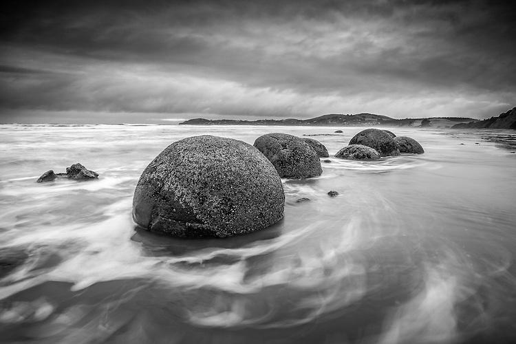Moeraki Boulders, Otago, New Zealand Black & white image.