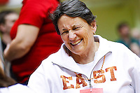 Columbus East coach Nancy Kirshman seen during the IHSAA gymnastics state finals at Worthen Arena in Muncie, Indiana. (Michael Hickey | For The Republic)