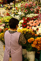 Woman arranging flowers in the market, San Miguel de Allende, Mexico. San Miguel de Allende is a UNESCO World Heritage Site....