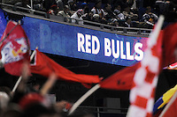New York Red Bulls sign. The San Jose Earthquakes defeated the New York Red Bulls 3-1, (3-2) on aggregate during the 2nd leg of the Major League Soccer (MLS) Eastern Conference Semifinals at Red Bull Arena in Harrison, NJ, on November 04, 2010.