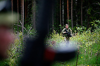 Thomas Elnes walks in a forest during a reconnaissance mission. Norwegian Home Guard soldiers during exercise Djerv..The Home Guard has traditionally been designated to secure important  domestic installations in case of war or crisis. With the cold war long gone, a war in Afghanistan and budget cuts, there is a debate over the Home Guard's role in the future.