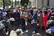 Washington, DC - September 22, 2016: Members of the Congressional Black Caucus hold a news conference in front of the Department of Justice headquarters in the District of Columbia, September 22, 2016, to address the shooting and profiling of African Americans by law enforcement members. The CBC presented Attorney General Lynch with a letter outlining its concerns.  (Photo by Ryan Ketterling/Media Images International)