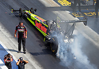 Sep 17, 2016; Concord, NC, USA; NHRA top fuel driver J.R. Todd during qualifying for the Carolina Nationals at zMax Dragway. Mandatory Credit: Mark J. Rebilas-USA TODAY Sports