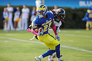 Newark, DE - October 29, 2016: Delaware Fightin Blue Hens defensive back Nasir Adderley (23) gets tackled by a Towson Tigers player during game between Towson and Delware at  Delaware Stadium in Newark, DE.  (Photo by Elliott Brown/Media Images International)