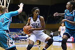 31 December 2015: Duke's Kyra Lambert (15) is defended by UNCW's Emily Thomas (left) and Naqaiyyah Teague (right). The Duke University Blue Devils hosted the University of North Carolina Wilmington Seahawks at Cameron Indoor Stadium in Durham, North Carolina in a 2015-16 NCAA Division I Women's Basketball game. Duke won the game 78-56.