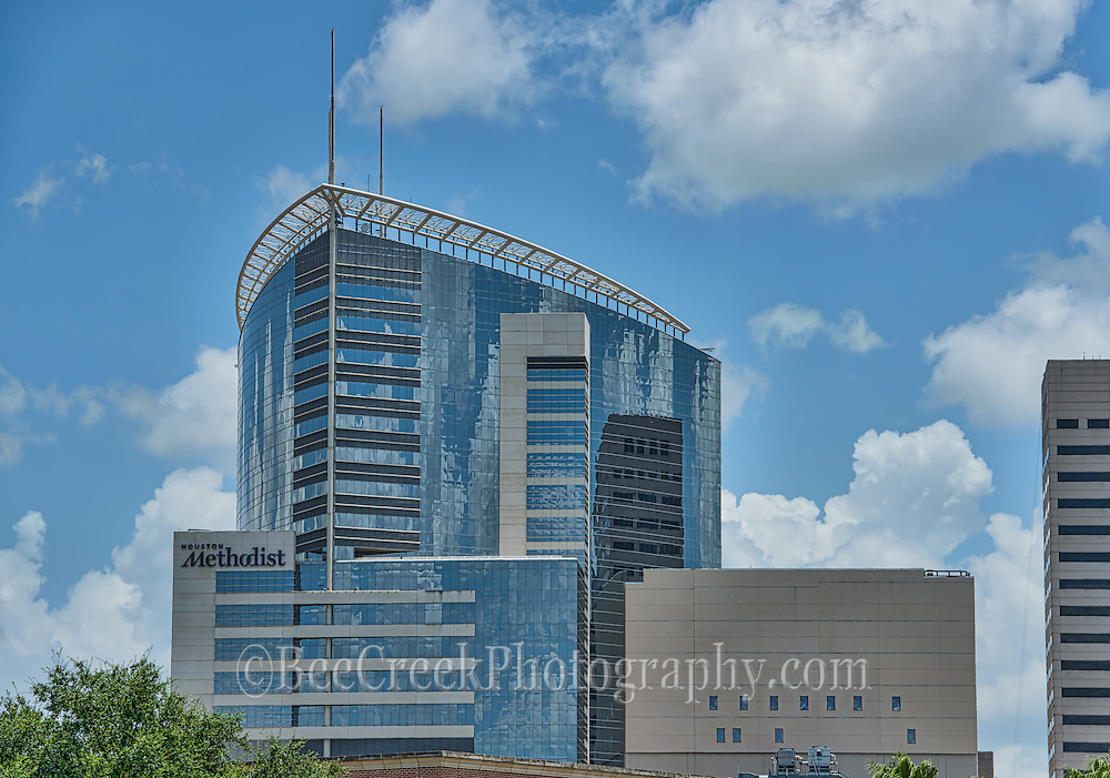 This is the modern view of the Methodist Hospital in the medical district in downtown Houston.