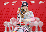 GARMISCH PARTENKIRCHEN, GERMANY 13/03/2010. Lindsey Vonn (USA) with a collection of trophys and an olympic gold medal that she has won in recent seasons. At the Audi FIS Alpine Skiing World Cup Finals the finale to the 2009-2010 season. Mandatory credit: Mitchell Gunn