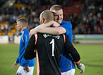 St Johnstone v FC Luzern...24.07.14  Europa League 2nd Round Qualifier<br /> Brian Easton hugs Alan Mannus<br /> Picture by Graeme Hart.<br /> Copyright Perthshire Picture Agency<br /> Tel: 01738 623350  Mobile: 07990 594431