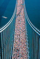 New York Marathon,Verrazano-Narrows Bridge, connecting Brooklyn and Staten Island, New York City, New York