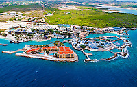 2 August 2009: An aerial view of resort hotels, condominiums and the public aquarium outside the Caribbean town of Willemstad, on the island of Curacao, in the Netherlands Antilles. Curaçao is known for tourism, scuba diving, and technologically advanced business districts. Mandatory Photo Credit: Ed Wolfstein Photo