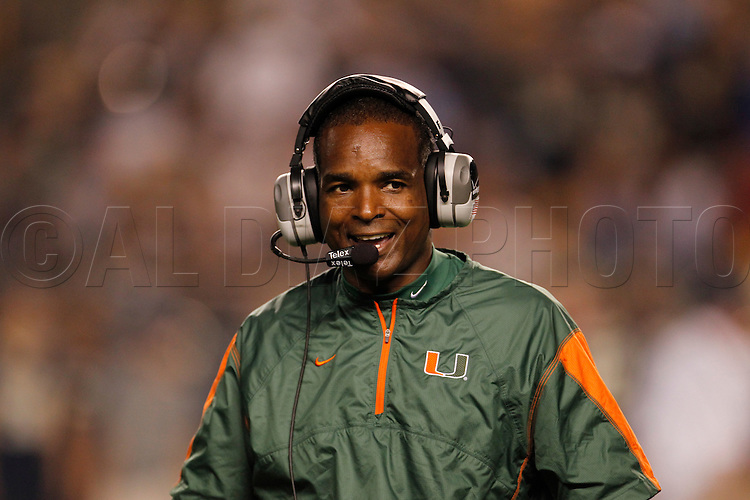 Miami Head Coach Randy Shannon on the sidelines during the 31-3 win over the Panthers. The University of Miami  vs The University of Pittsburgh Panthers at Heinz Field in Pittsburgh, PA, on Thursday, September 23, 2010.