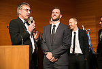 St Johnstone FC Scottish Cup Celebration Dinner at Perth Concert Hall...01.02.15<br /> Gordon Bannerman talks with keeper Alan Mannus<br /> Picture by Graeme Hart.<br /> Copyright Perthshire Picture Agency<br /> Tel: 01738 623350  Mobile: 07990 594431