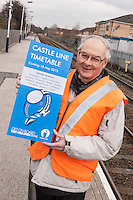 PIctured at Carlton Station for the launch of the new Castle Line Timetable from is Station Adopter Tony Cave who helps keep the station spick and span!