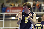 27 APR 2014: Paul Kuhn of Juniata College encourages the student section against Springfield College during the Division III Men's Volleyball Championship held at the Kennedy Sports Center in Huntingdon, PA. Springfield defeated Juniata 3-0 to win the national title.  Mark Selders/NCAA Photos