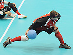 November 18 2011 - Guadalajara, Mexico:   Bruno Hache of Canada makes a throw during the Goalball Bronze Medal Match in the San Rafael Park Sports Complex at the 2011 Parapan American Games in Guadalajara, Mexico.  Photos: Matthew Murnaghan/Canadian Paralympic Committee