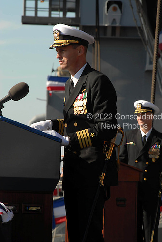Norfolk, VA - January 10, 2009 -- Capt. Kevin E. O?Flaherty delivers remarks during the commissioning ceremony for the aircraft carrier USS George H.W. Bush (CVN 77) at Naval Station Norfolk, Virginia. The Navy's newest, and final, Nimitz-class aircraft carrier is named after World War II naval aviator and the 41st president of the United States George H.W. Bush.).Credit:  Demetrius Patton - U.S. Navy via CNP