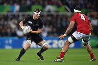 Sam Cane of New Zealand in possession. Rugby World Cup Pool C match between New Zealand and Tonga on October 9, 2015 at St James' Park in Newcastle, England. Photo by: Patrick Khachfe / Onside Images