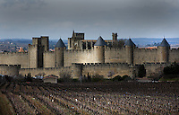 General view of Citadel of Carcassonne, 13th century, and adjacent vineyard, Carcassonne, Aude, France, pictured on February 24, 2007, at midday on a cloudy winter's day. The two outer walls of the concentric fortified city are defended by towers and barbicans, and a draw bridge across a moat leads to the keep of the castle. Carcassonne was a stronghold of Occitan Cathars during the Albigensian Crusades but was captured by Simon de Montfort in 1209. He added extra fortifications and Carcassonne became a citadel on the French border with Aragon. The fortress was restored in 1853 by Eugene Viollet-le-Duc. Today it is a UNESCO World Heritage site. Picture by Manuel Cohen.