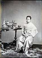 BNPS.co.uk (01202 558833)<br /> Pic: 25BlytheRoad/BNPS<br /> <br /> The Queen of Siam, Queen Sunanda Kumnariratana.<br /> <br /> Stunning 125 year-old pictures of Thailand which showcase the tropical paradise long before it became a tourist hot-spot have emerged.<br /> <br /> The collection of photographs from the early 1890s include images of the King's birthday celebrations in 1892, the King's palace and the Bangkok architecture.<br /> <br /> Also included in the collection are photographs of Hong Kong under British crown rule in 1895 including of British seamen, the Hong Kong cricket team and the native army.<br /> <br /> The photo album will go under the hammer on January 25 and is tipped to sell for &pound;1,500.<br /> <br /> The owner of the album is believed to have been a member of the Royal Engineers or connected with them.<br /> <br /> The fascinating photos provide a snapshot of Thailand under the rule of King Chulalongkorn.<br /> <br /> He was the first Siamese king to have a full western education, having been taught by British governess Anna Leonowens whose memoirs were transported to the silver screen in the famous film The King and I.