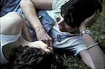 Lesbian couple - outdoors in park - NYC