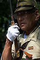 August 15, 2011, Tokyo, Japan - A man wearing a WW2 Japanese military uniforms salutes during commemorations marking the end of WW2. (Photo by Bruce Meyer-Kenny/AFLO) [3692]